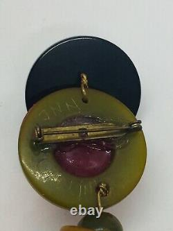 Jan Carlin Vintage Bakelite Figure Crib Toy Beaded Polka Dot Dangle Pin
