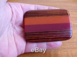 Laminated Cranberry & Orange Bakelite And Striped Wood Pin, Large Superb Vintage