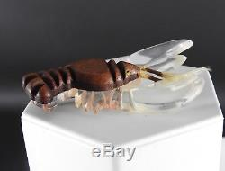 Large Celluloid Vintage Plastics Art Deco Carved Wood Clear Lobster Pin Brooch
