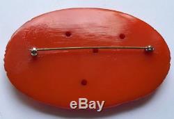 Large Chunky Vintage Deep Carved Orange Bakelite Flower Pin Brooch