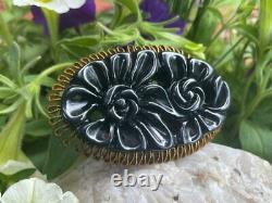 Large OUTSTANDING Vintage Deep Carved Black Bakelite Flower Floral Brooch / Pin
