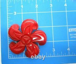 Large Red Carved Bakelite Antique Vintage Flower Pin