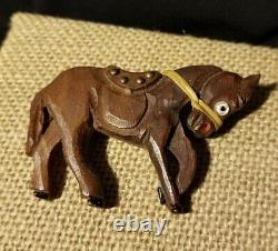 Large Vintage Bakelite Era Carved Wood Horse Pin with Glass Eye and Accents