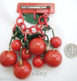 Large Vintage Carved Bakelite Red Cherries And Leaves Pin Brooch