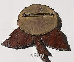Large Vintage Carved Clad Bakelite Flower & Wood Pin Brooch