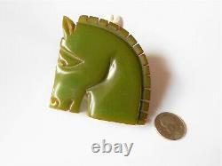Large Vintage Carved Green Bakelite Unique Horse Brooch-pin 2 1/4'' X 2 1/4'