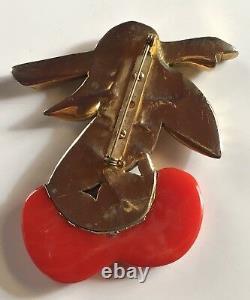 Large Vintage Carved Red Bakelite Embossed Metal Cherries Fruit Pin Brooch