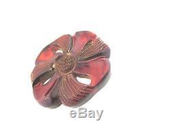 Large Vintage Deep Carved Bakelite Flower Brooch Pin C-clasp Tested