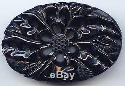 Large Vintage Deep Carved Black Bakelite Floral Pin Brooch