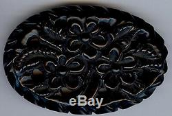 Large Vintage Deep Carved Floral Black Bakelite Pin Brooch