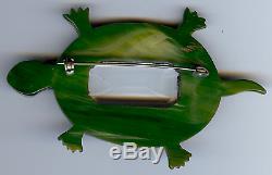 Large Vintage Marbled Green Bakelite Turtle Pin Brooch