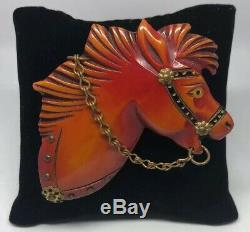 Large vintage red bakelite horse head with bridle detailed animal pin brooch
