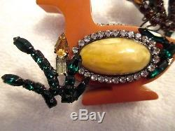 Lawrence Vrba Crystal Bakelite Duck Pin Signed Vintage XL Runway Couture -Mint
