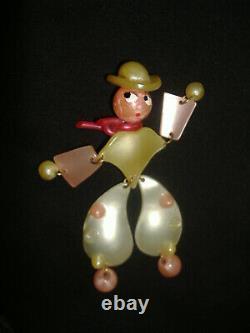 Lg 4.5 Vtg Bakelite Lucite Brooch Dress Coat Pin Western Cartoon Cowboy Chaps