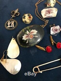 Lot Lucite Monocraft Rose Bowl Scottie Dog Brooch Pin Vintage