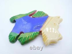 Lovely Vintage Carved Bakelite Scotty Scottish Terrier Dog Pin Brooch