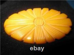 Lovely Vintage Deeply Carved Floral Design Butterscotch Bakelite Brooch Pin