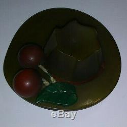 Lovely! Vtg BAKELITE Olive Green HAT Pin/BROOCH Carved SUNDAY Church Rare