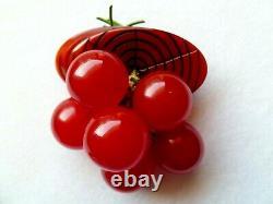 Lovely Vtg Bakelite Bunch 6 Dangling Red Cherries On Tree Trunk Brooch/pin