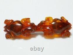 Lucite Frog Bakelite Toad Amber Bar Vintage Plastic Antique Brooch Pin