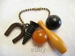 MAGIC 8 BALL, SCREW, HORSESHOE + BAKELITE Vintage PIN Charms KEYRING