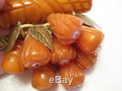 MOST RARE Vintage DEEP CARVED Amber BAKELITE FRUIT Charm Pin BROOCH