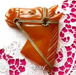 Minty BAKELITE Carved HORSE Head Pin Brooch BOOK Piece Butterscotch 1930s Vintag