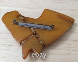 Old Vintage 1930's Bakelite Large Carved HORSE Head Pin Brooch Butterscotch