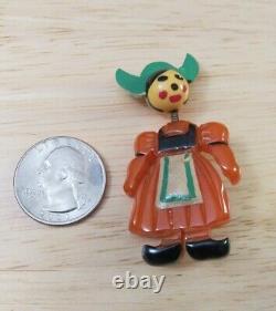 Old Vintage Bakelite Hand Carved Painted Holland Dutch Girl Pin Brooch bobble