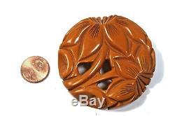 Old Vintage Round Carved Butterscotch BAKELITE Flora Openwork Pin 1940's