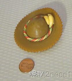 Old vtg big 3 CARVED BAKELITE HAT PIN wide banana brim figural TESTED