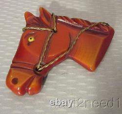 Old vtg carved CHESTNUT BAKELITE HORSE HEAD PIN brass reins painted eye TESTED