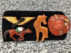 Original 1940s Vintage Bakelite Horse Jockey Pin