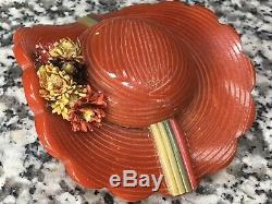 Original 1940s Vintage Red Bakelite Carved Hat Pin with Flowers & Celluloid Bands