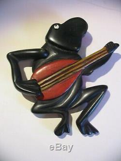 Original Vintage Bakelite Banjo Playing Frog Pin Brooch, Swinging Arm Strumming