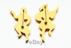 Pair large vintage figural bakelite brooches, pins, rare