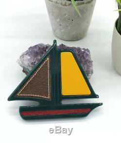 Prada Authentic Vintage 90s Bakelite Leather Sailboat Brooch Pin Green Red NWT