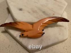 RARE Apricot Bird Bakelite Authentic 1940s Large Pin Brooch Vintage