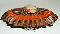 RARE DBL LAMINATED CARVED CAMEO Vtg Bakelite Hinged WOOD CLAMPER BRACELET & PIN