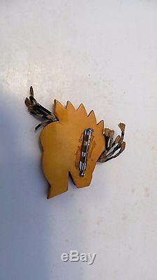 RARE Estate Find Vintage Bakelite Brooch Pin Lion Horse Indian