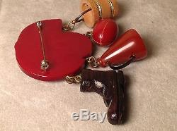 RARE Football Theme RED CARVED BAKELITE BROOCH PIN Vintage