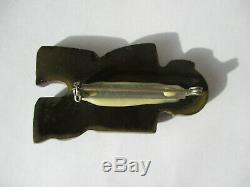RARE HTF Vintage Abstract Modernist Figural Art Deco Carved Bakelite Brooch Pin