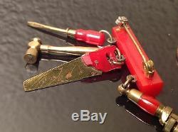 RARE Handyman Tools RED BAKELITE Brooch Pin MOVING PARTS vintage