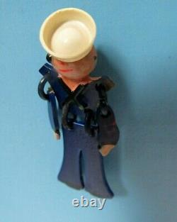 RARE VTG. 1940's BAKELITE WWII SAILOR BUDDY SWEETHEART HAND-PAINTED PIN BROOCH