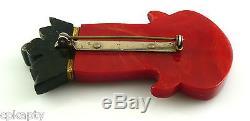 RARE Vintage 1930s Carved Black & Red Bakelite CHESS KING Heraldic Brooch PIN