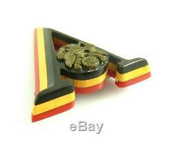 RARE Vintage 1940s Handmade Patriotic WWII BAKELITE V for Victory Brooch PIN