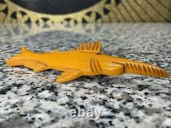 RARE Vintage Amazing Bakelite Sawtooth 4 Marlin Pin Chunky Carved with Glass Eye