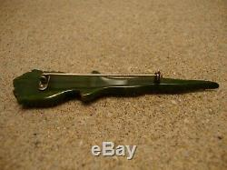 RARE Vintage Bakelite Kilt Pin! Carved Bird Head Handled Wavy Dagger Design