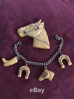 RARE Vintage Butterscotch Bakelite Horse Head Pin & Bracelet Set