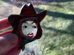 RARE Vintage Large Carved Lucite & Wood Bakelite Style Cowgirl Brooch Pin